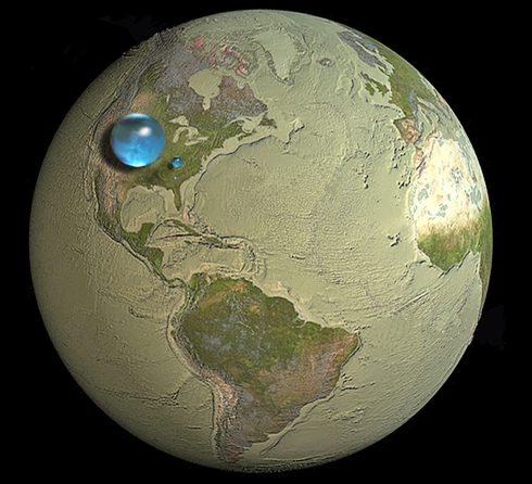 AllTheWaterOnEarth--FreshWaterVolume--USGS--WHOI