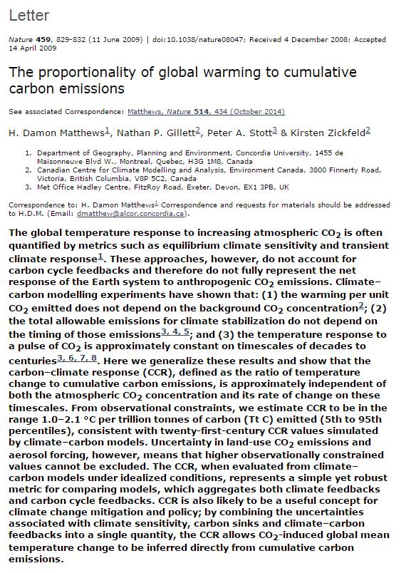 ProportionalityOfGlobalWarmingToCumulativeCarbonEmissions--ABSTRACT--Matthews--Gillett--Stott--Zickfeld2009
