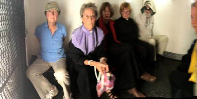 WRL NVDA 6-29-16 holding cell Jane, Rev Kate, Rev Lindsay, Rev Rali, Paul A