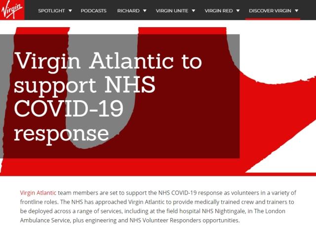 Virgin Atlantic supports NHS COVID-19 response